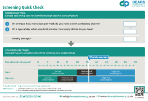 Dears Pharmacy Alcohol Reduction Service Screening Quick Guide